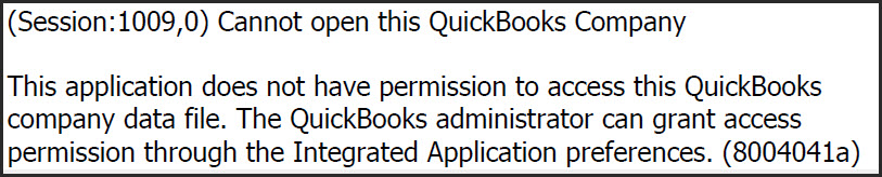 Cannot open this QuickBooks Company (access permission